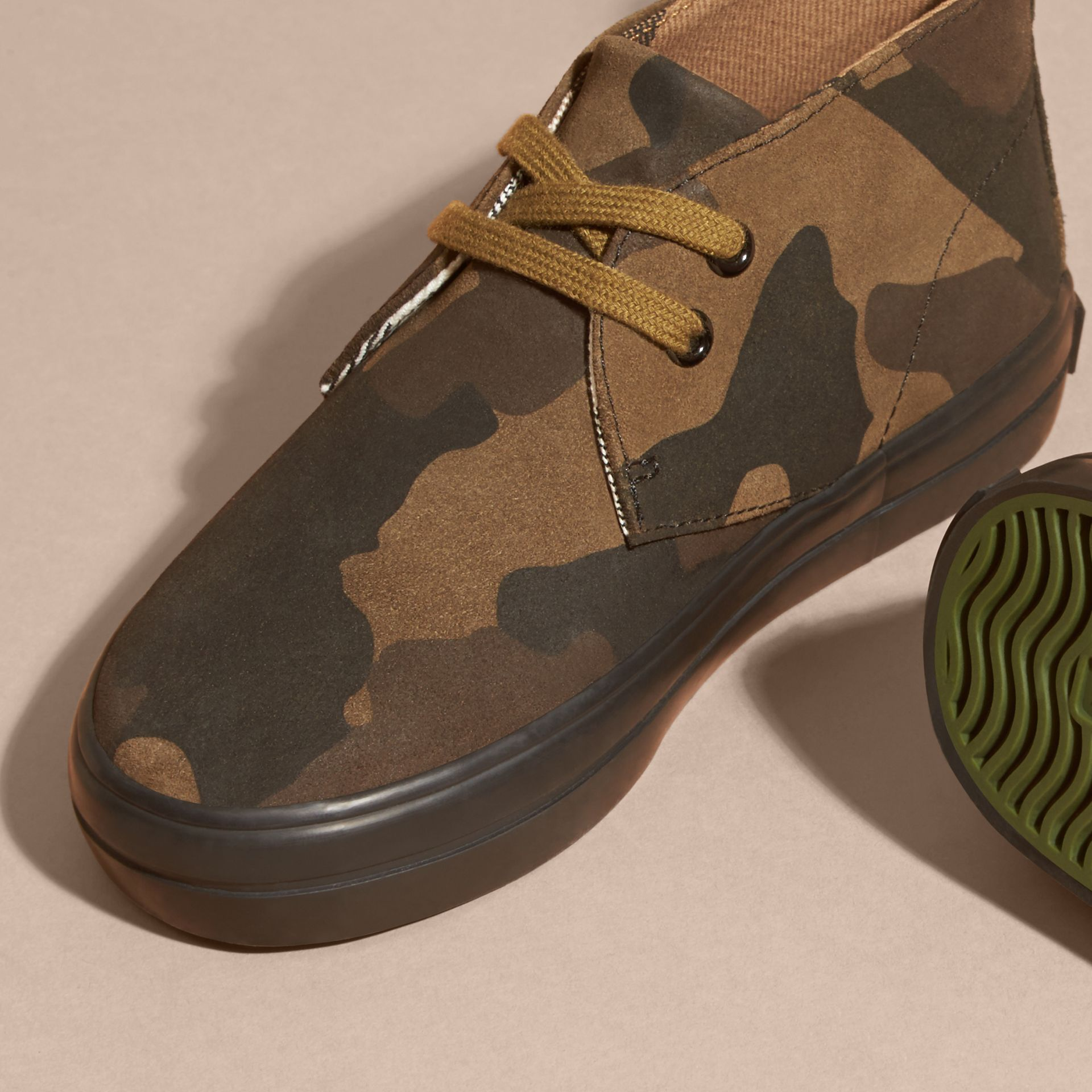 Dark green ochre Camouflage Print Suede Lace-up Desert Boots - gallery image 2