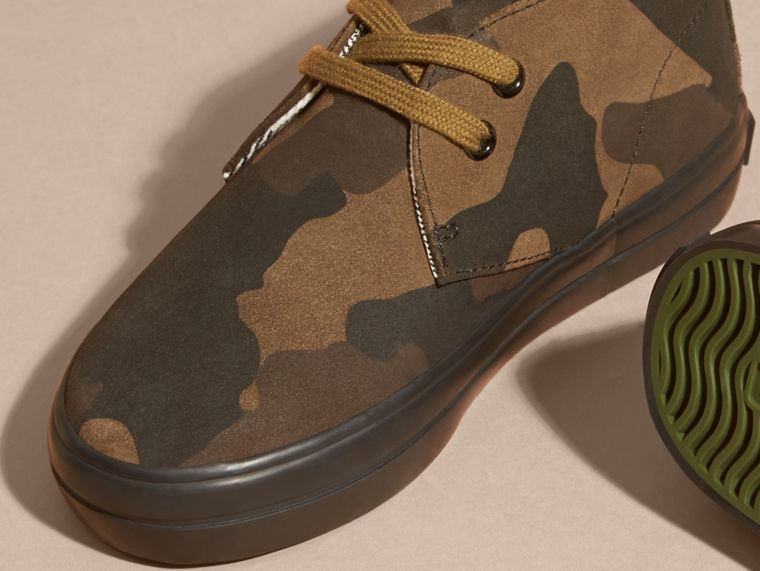 Dark green ochre Camouflage Print Suede Lace-up Desert Boots - cell image 1