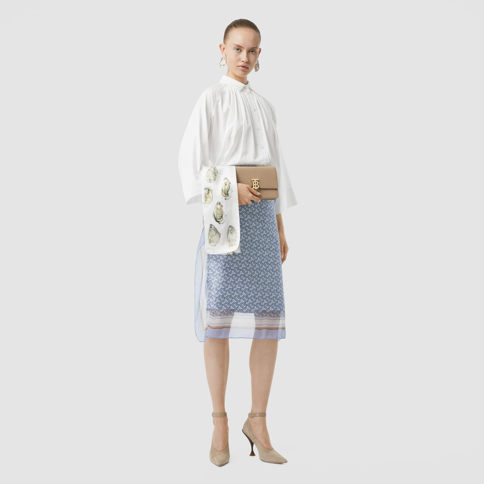 モノグラムコットン ジャカード オーバーサイズシャツ (オプティックホワイト) - ウィメンズ | バーバリー - ギャラリーイメージ 0