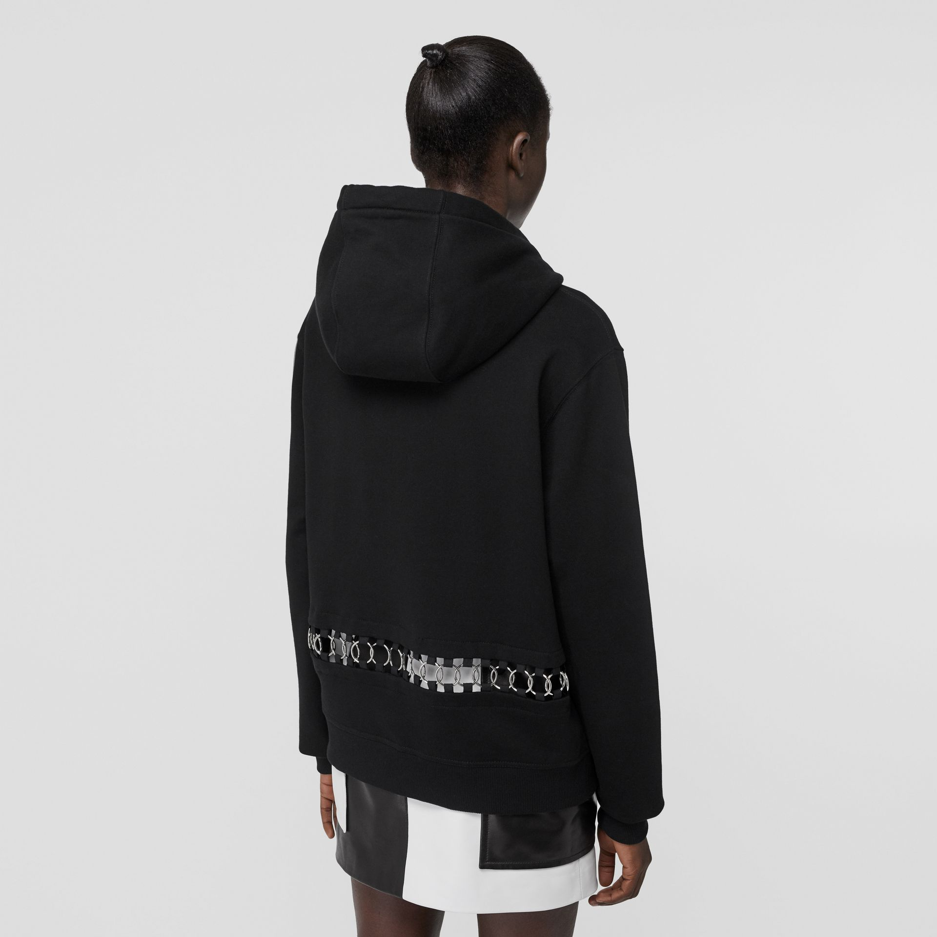 Ring-pierced Cotton Oversized Hoodie in Black - Women | Burberry - gallery image 2