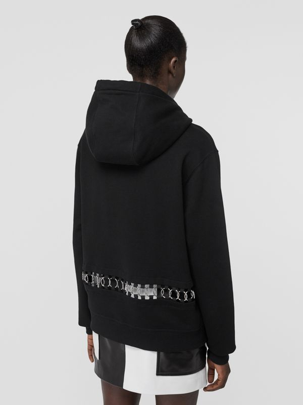 Ring-pierced Cotton Oversized Hoodie in Black - Women | Burberry United Kingdom - cell image 2
