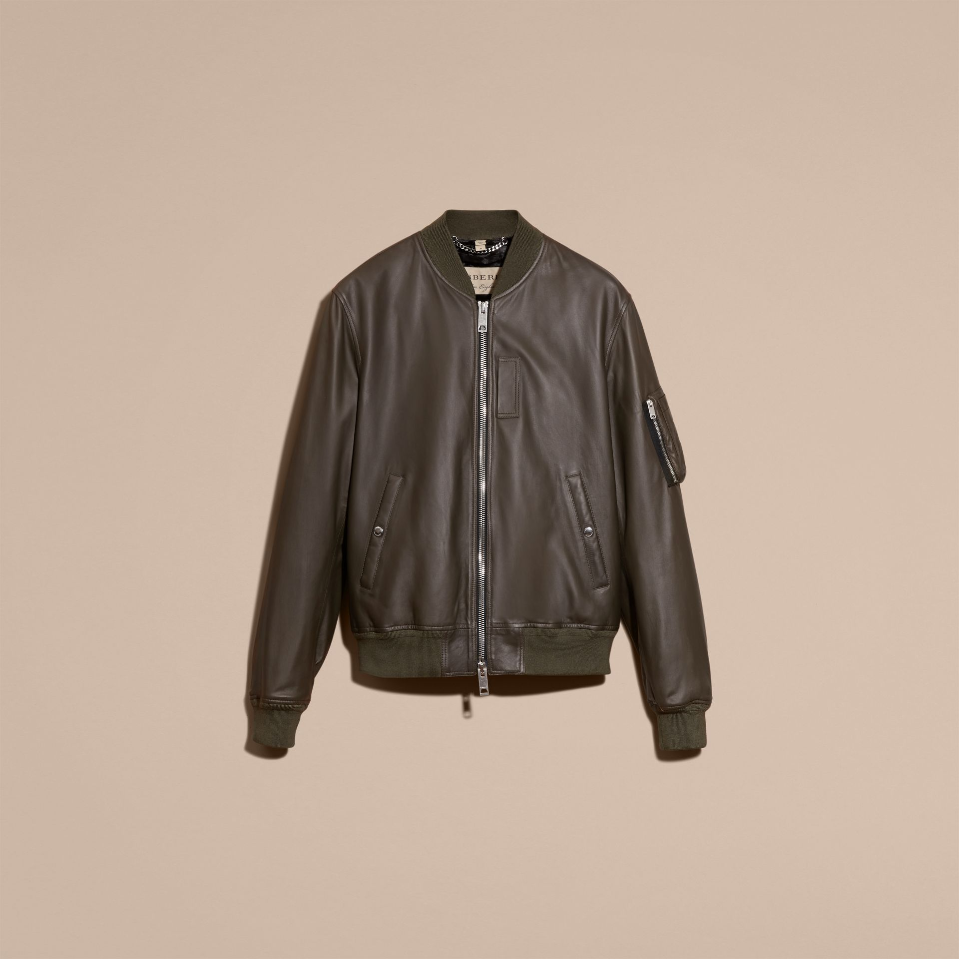Lightweight Lambskin Bomber Jacket in Olive - gallery image 4