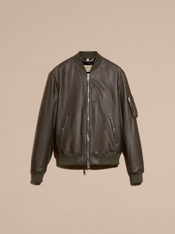 Lightweight Lambskin Bomber Jacket in Olive - cell image 3