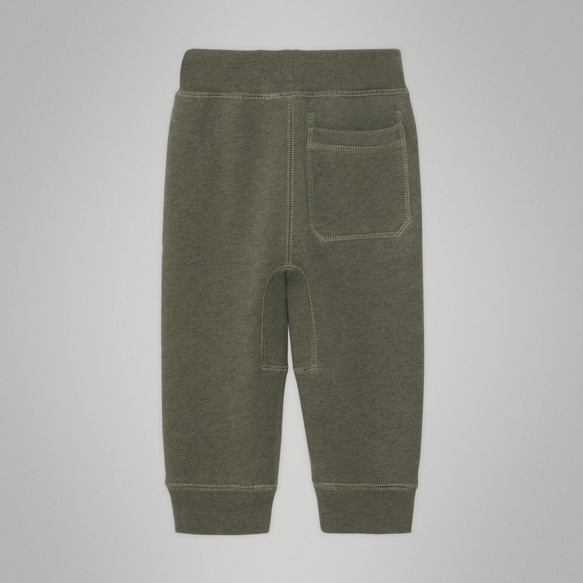 Embroidered Logo Cotton Trackpants in Olive Melange - Children | Burberry Canada - gallery image 3