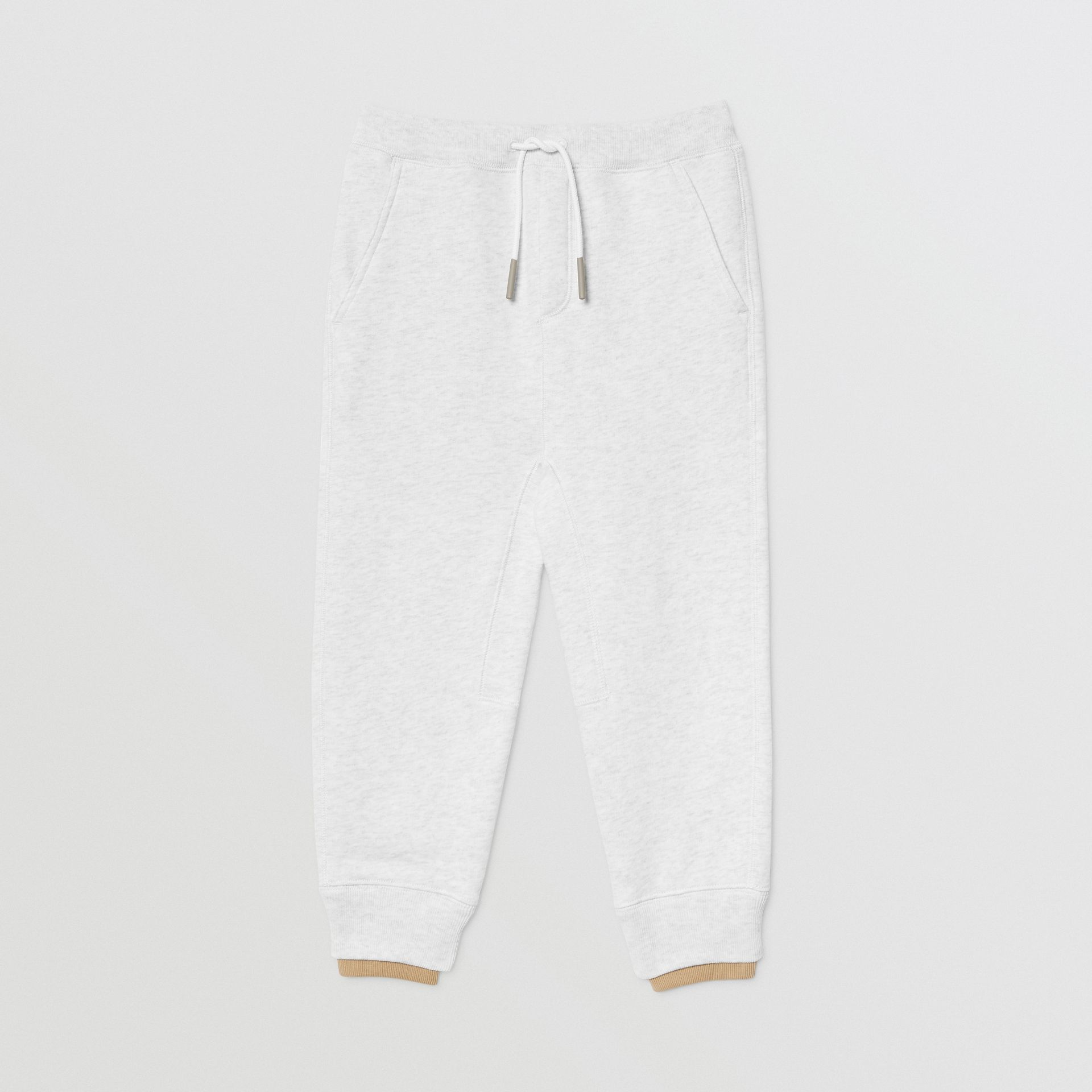 Logo Detail Cotton Trackpants in White Melange | Burberry Singapore - gallery image 0