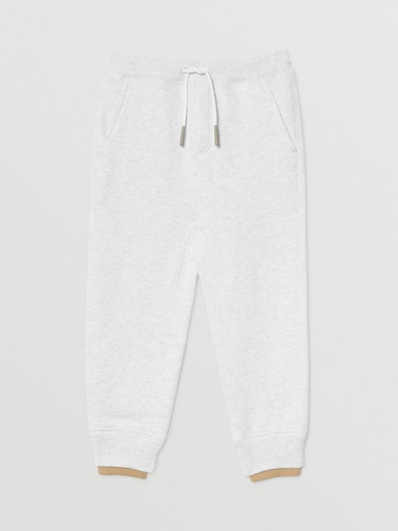 Logo Detail Cotton Trackpants in White Melange