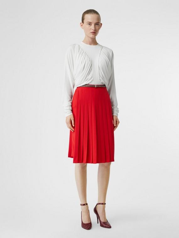 Blusa de malha com mangas longas e recortes franzidos (Branco)