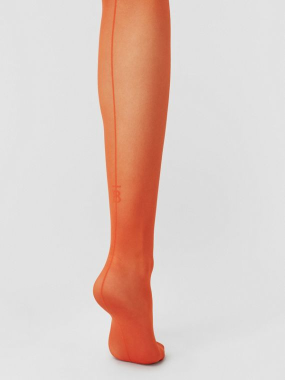 Monogram Motif Seamed Tights in Bright Orange