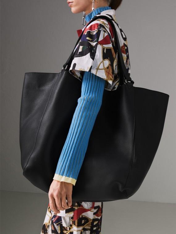 Grand sac tote en cuir contrecollé (Noir) | Burberry Canada - cell image 3