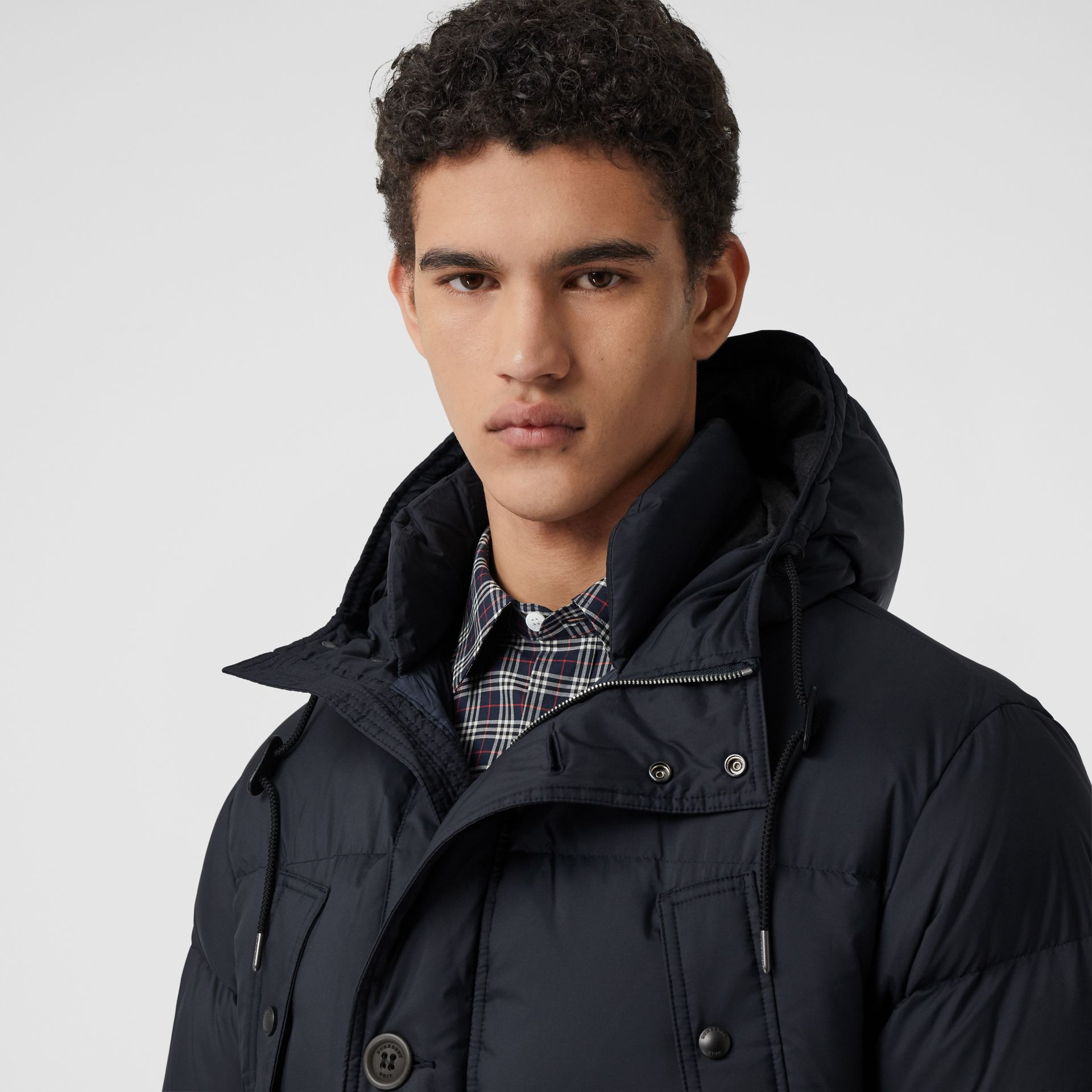 Hooded Puffer Coat in Navy - Men | Burberry - gallery image 1