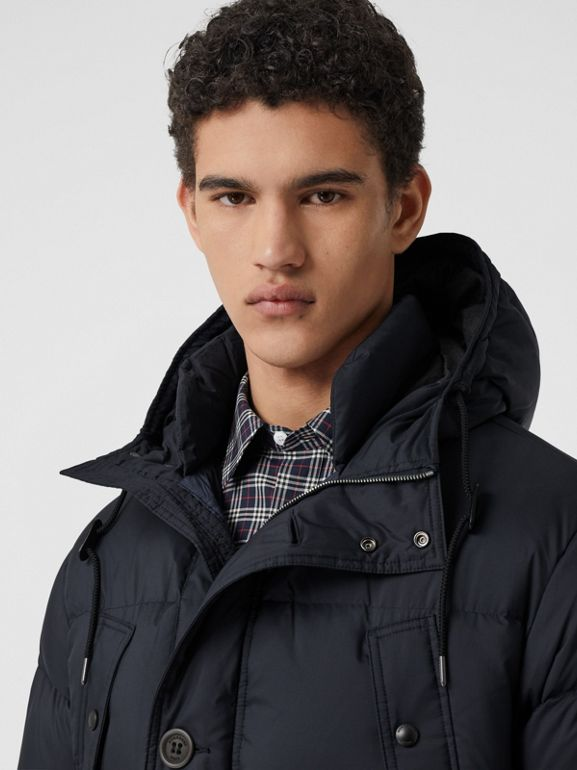Hooded Puffer Coat in Navy - Men | Burberry - cell image 1