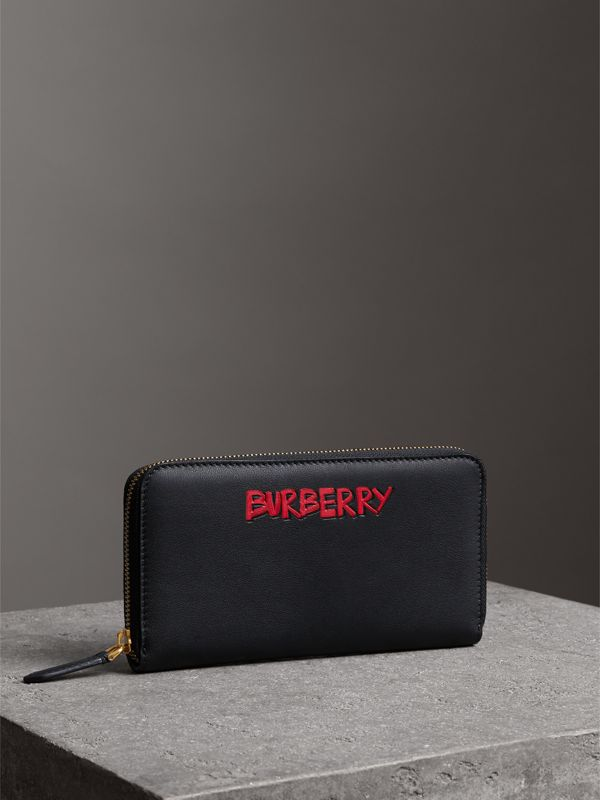 Graffiti Print Leather Ziparound Wallet in Black - Men | Burberry - cell image 3
