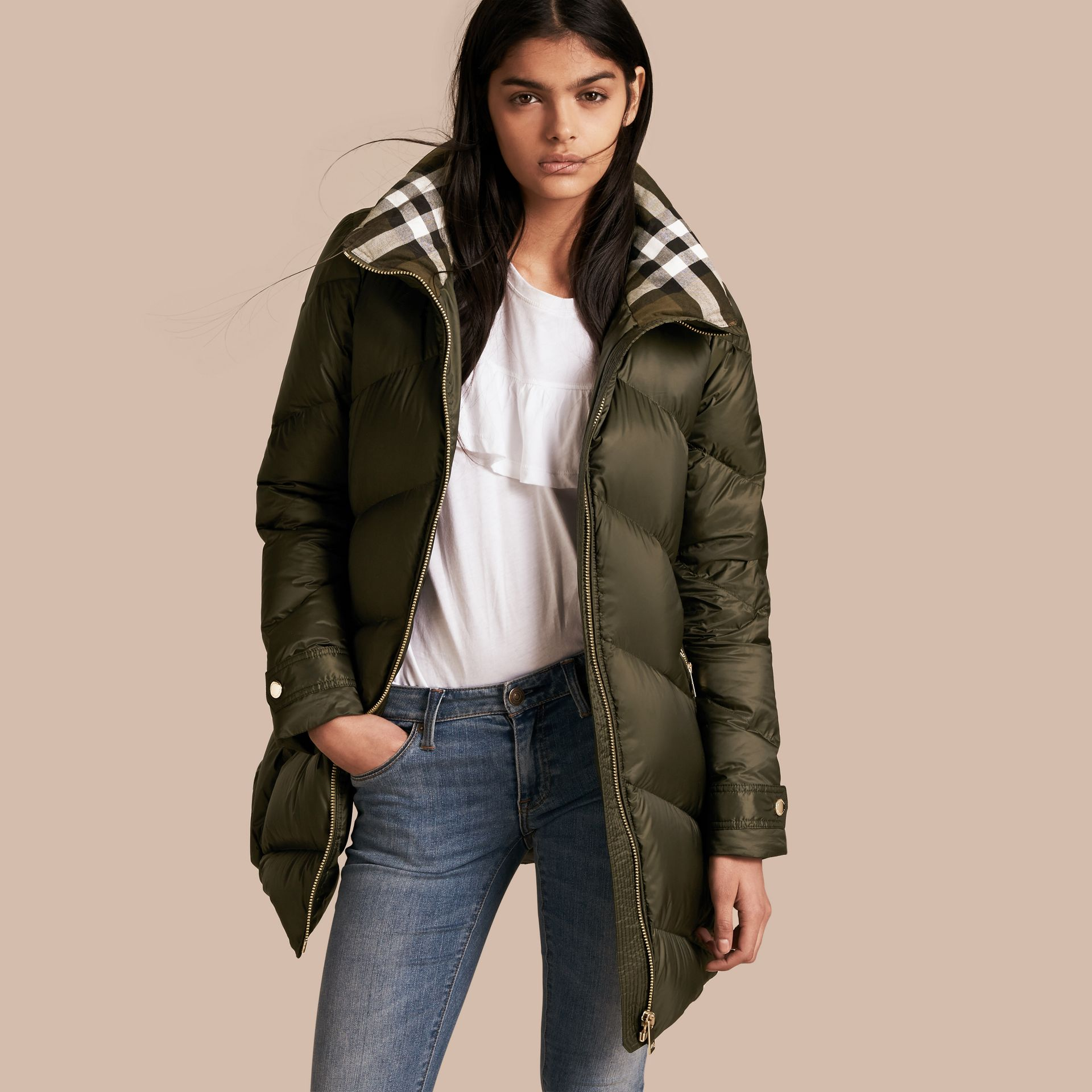 Chevron-quilted Down-filled Coat in Olive - Women | Burberry - gallery image 1