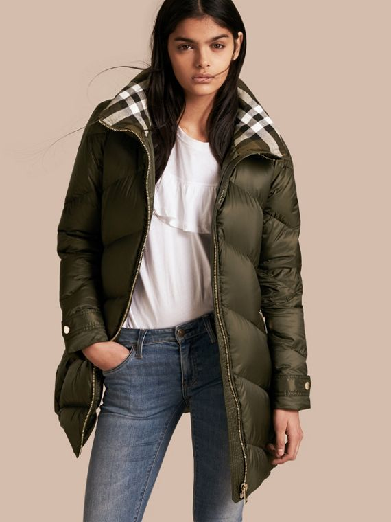 Chevron-quilted Down-filled Coat Olive