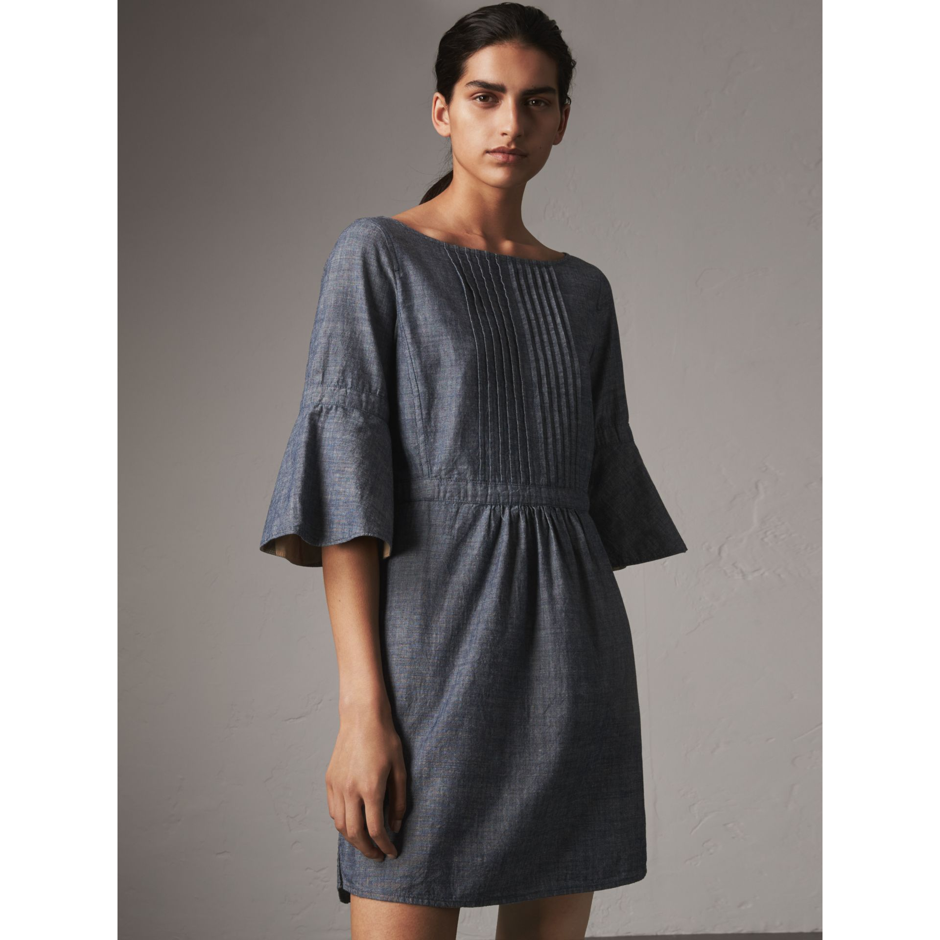 Bell Sleeve Cotton Chambray Dress with Check Detail - Women | Burberry - gallery image 1