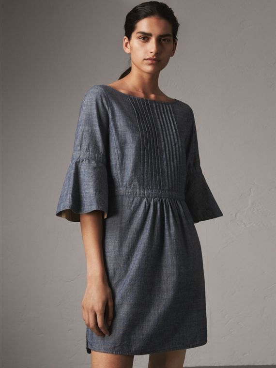 Bell Sleeve Cotton Chambray Dress with Check Detail - Women | Burberry