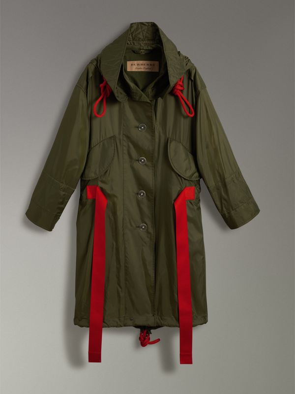 Tape Detail Showerproof Hooded Parka in Light Olive - Women | Burberry United States - cell image 3