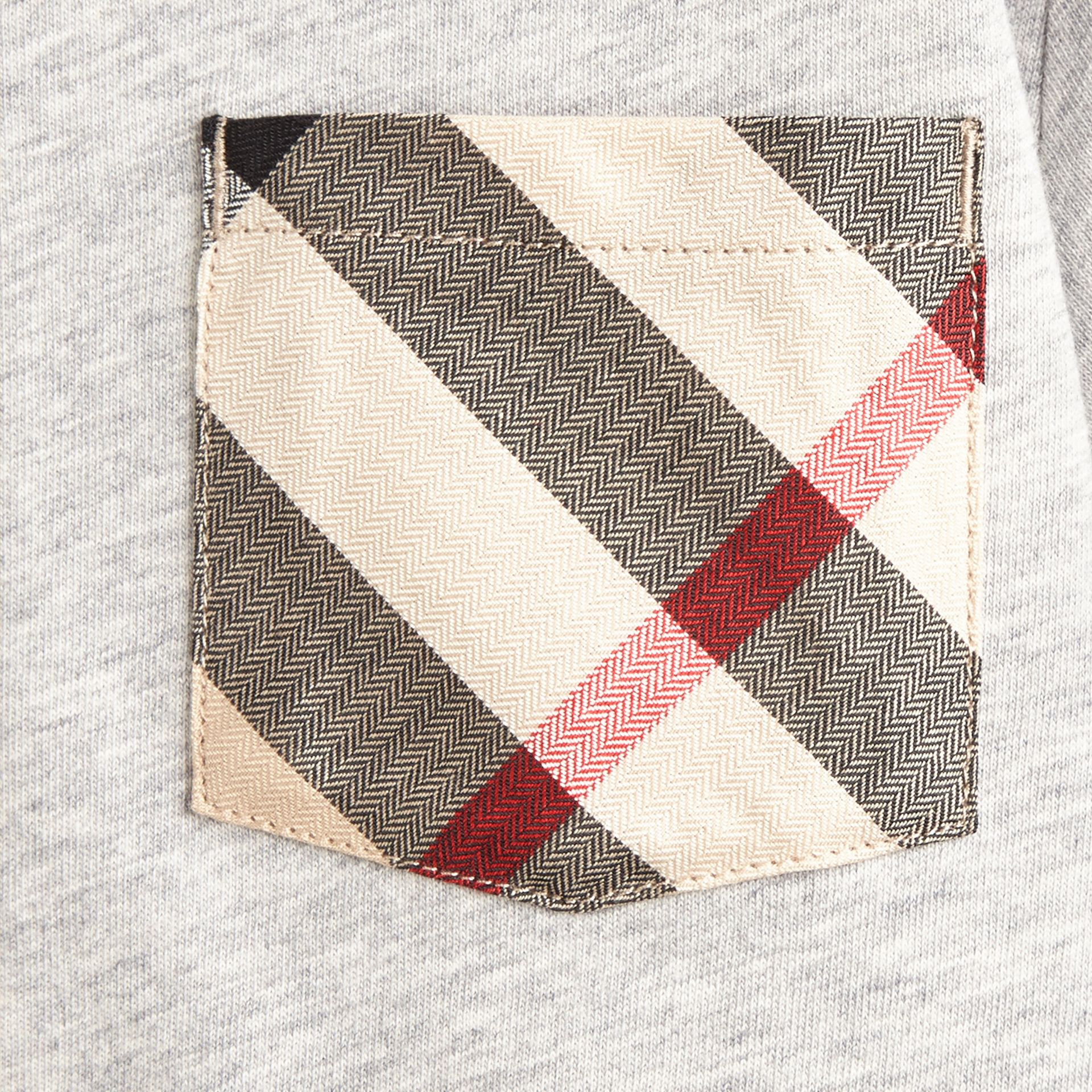 Grey melange Check Pocket T-Shirt - gallery image 2
