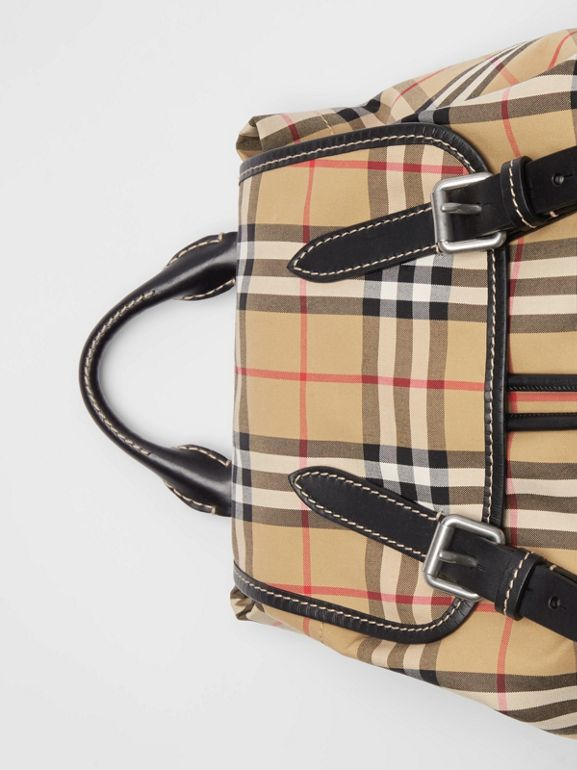 The Medium Rucksack in Vintage Check Cotton Canvas in Antique Yellow - Women | Burberry - cell image 1