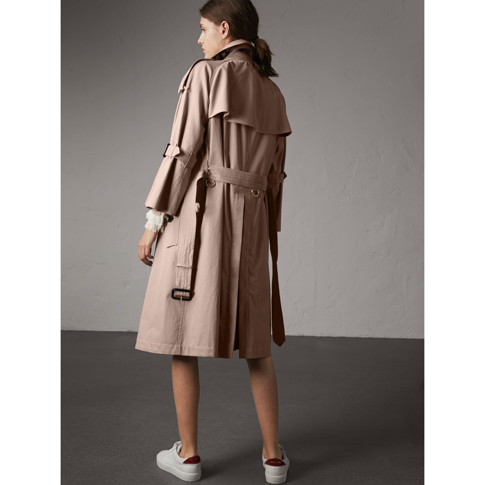 Flared Sleeve Tropical Gabardine Trench Coat - gallery image 3