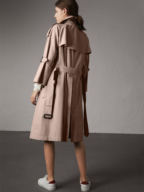 Flared Sleeve Tropical Gabardine Trench Coat in Antique Taupe Pink - Women | Burberry - cell image 2