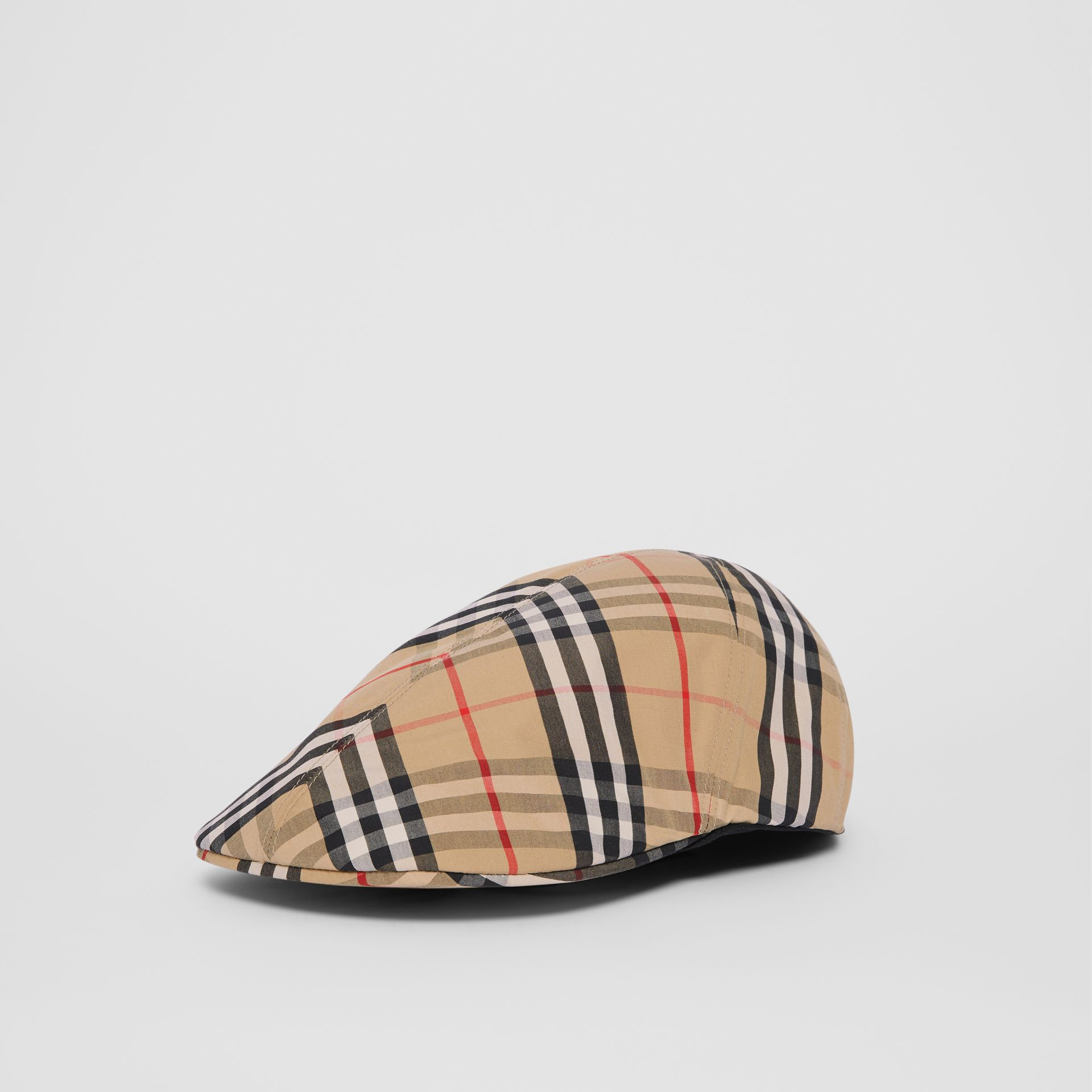 Vintage Check Cotton Flat Cap in Archive Beige | Burberry - gallery image 4