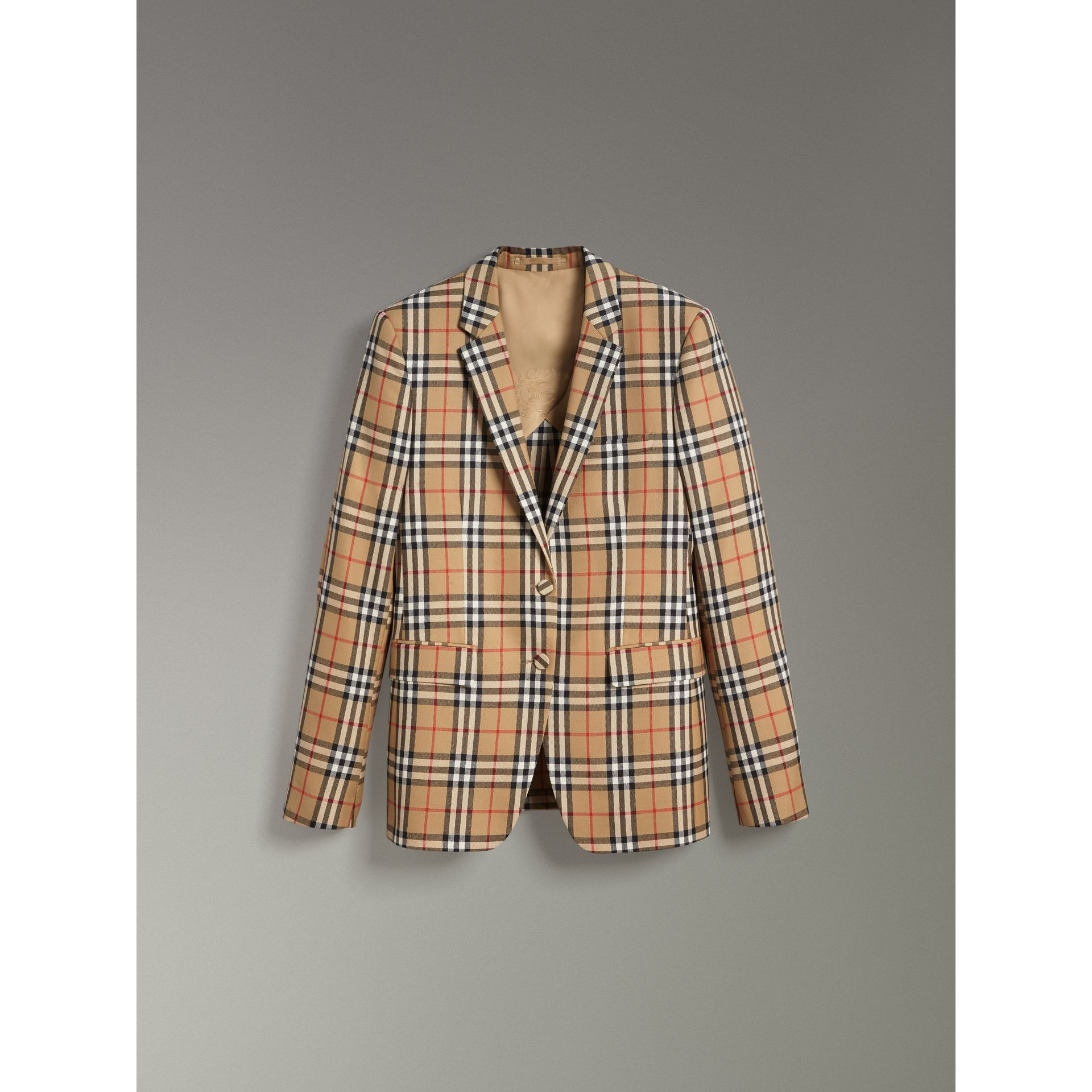 Vintage Check Wool Tailored Jacket in Antique Yellow - Women | Burberry - gallery image 3