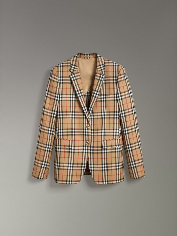 Vintage Check Wool Tailored Jacket in Antique Yellow - Women | Burberry United Kingdom - cell image 3