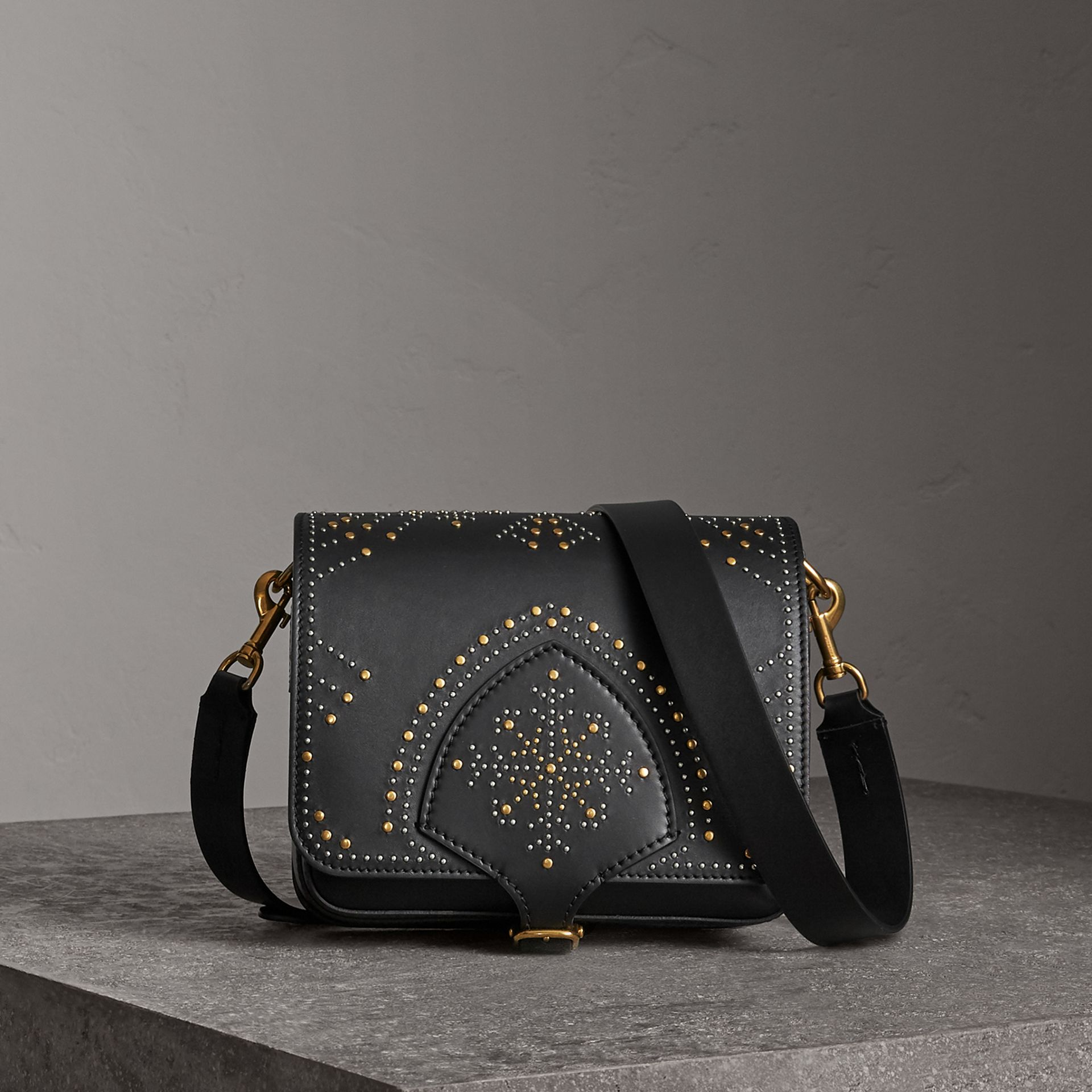 The Square Satchel in Riveted Leather in Black - Women | Burberry United Kingdom - gallery image 0