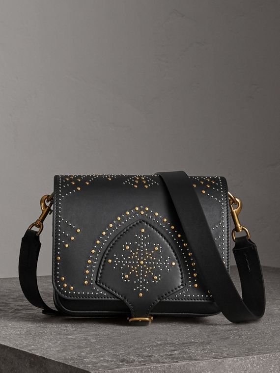 The Square Satchel in Riveted Leather in Black