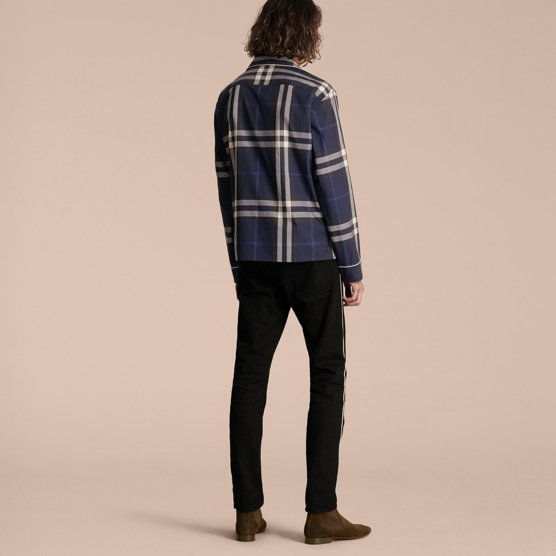 Indigo blue Check Cotton Pyjama-style Shirt Indigo Blue - gallery image 3