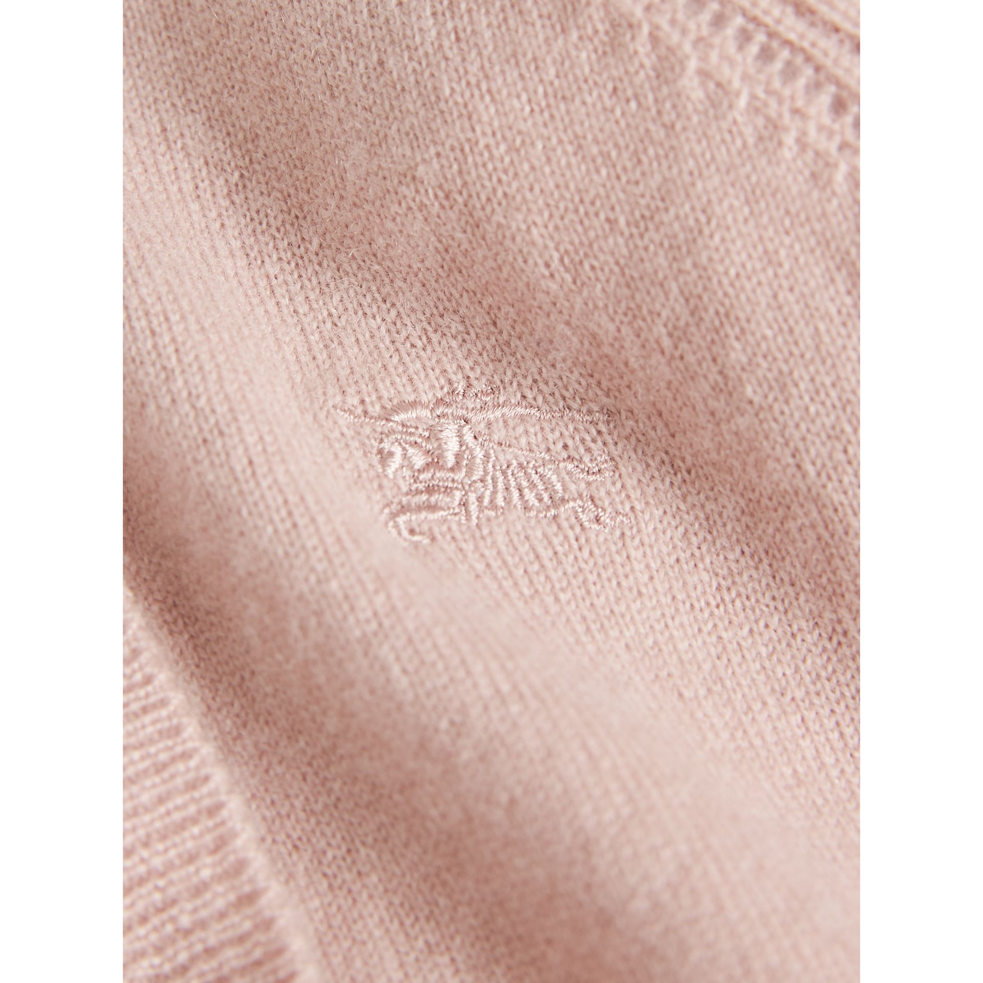 Check Cuff Cashmere Cardigan in Dusty Pink - Girl | Burberry - gallery image 2