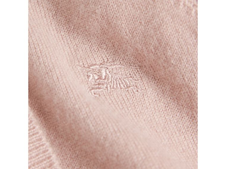 Check Cuff Cashmere Cardigan in Dusty Pink - Girl | Burberry - cell image 1