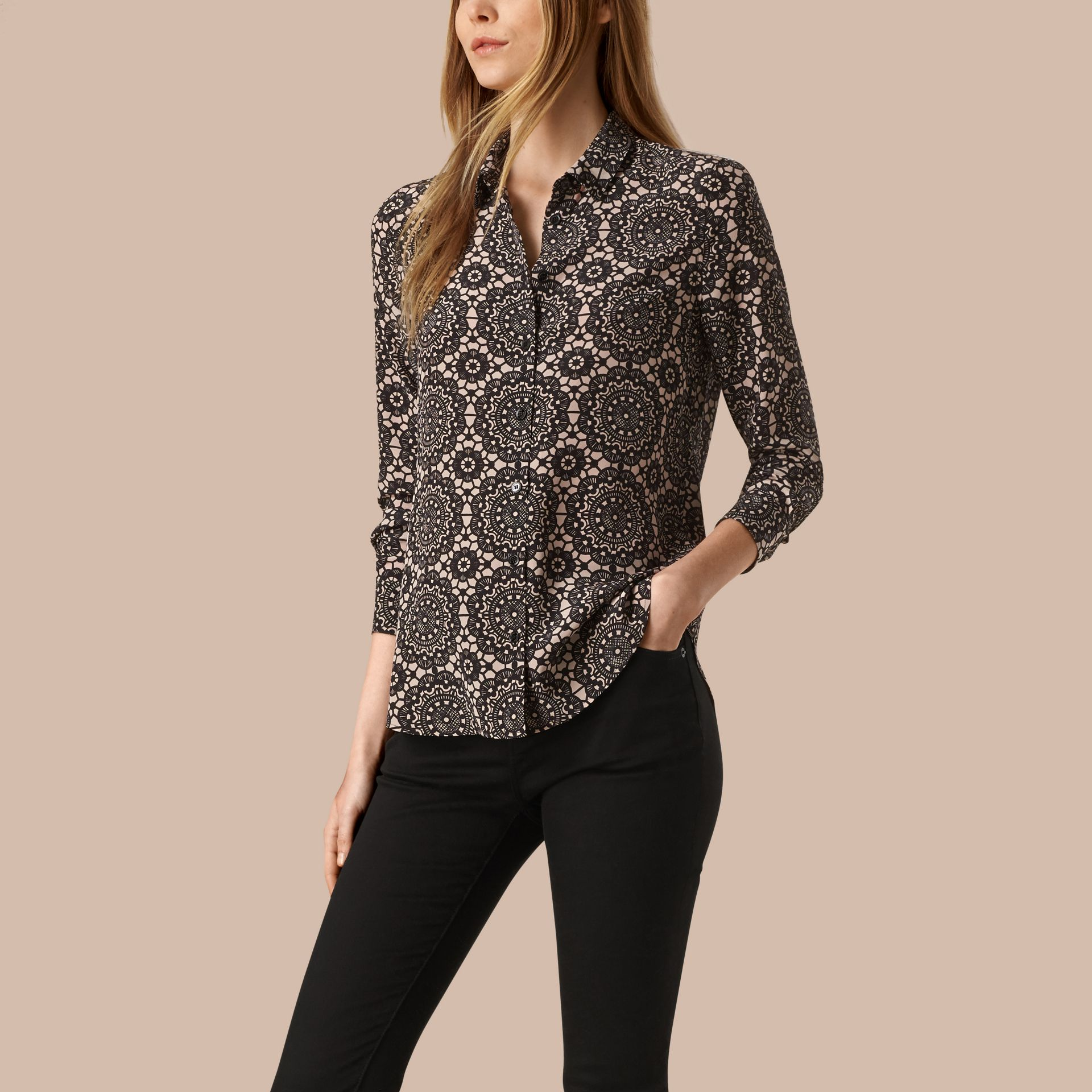 Nude/black Lace Print Silk Shirt - gallery image 1