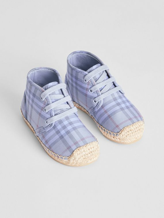 Check Espadrille Booties in Dusty Blue