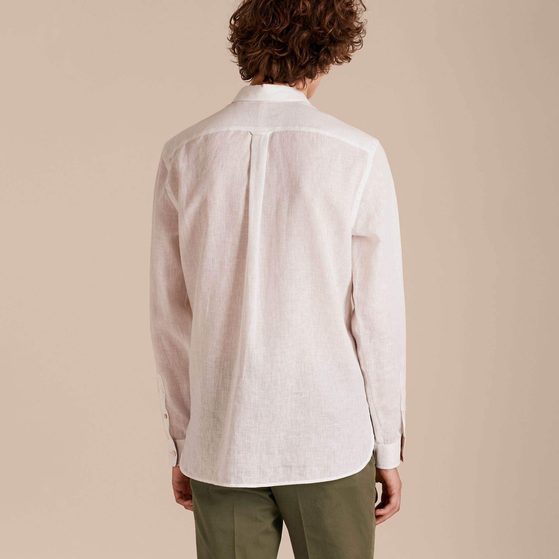 Check Detail Linen Shirt in White - Men | Burberry - gallery image 3