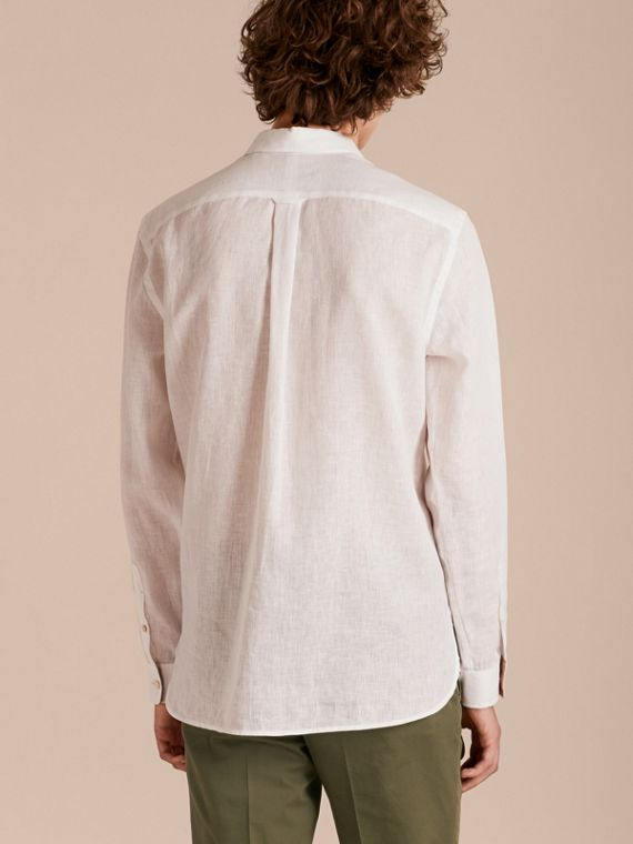 Check Detail Linen Shirt in White - Men | Burberry - cell image 2