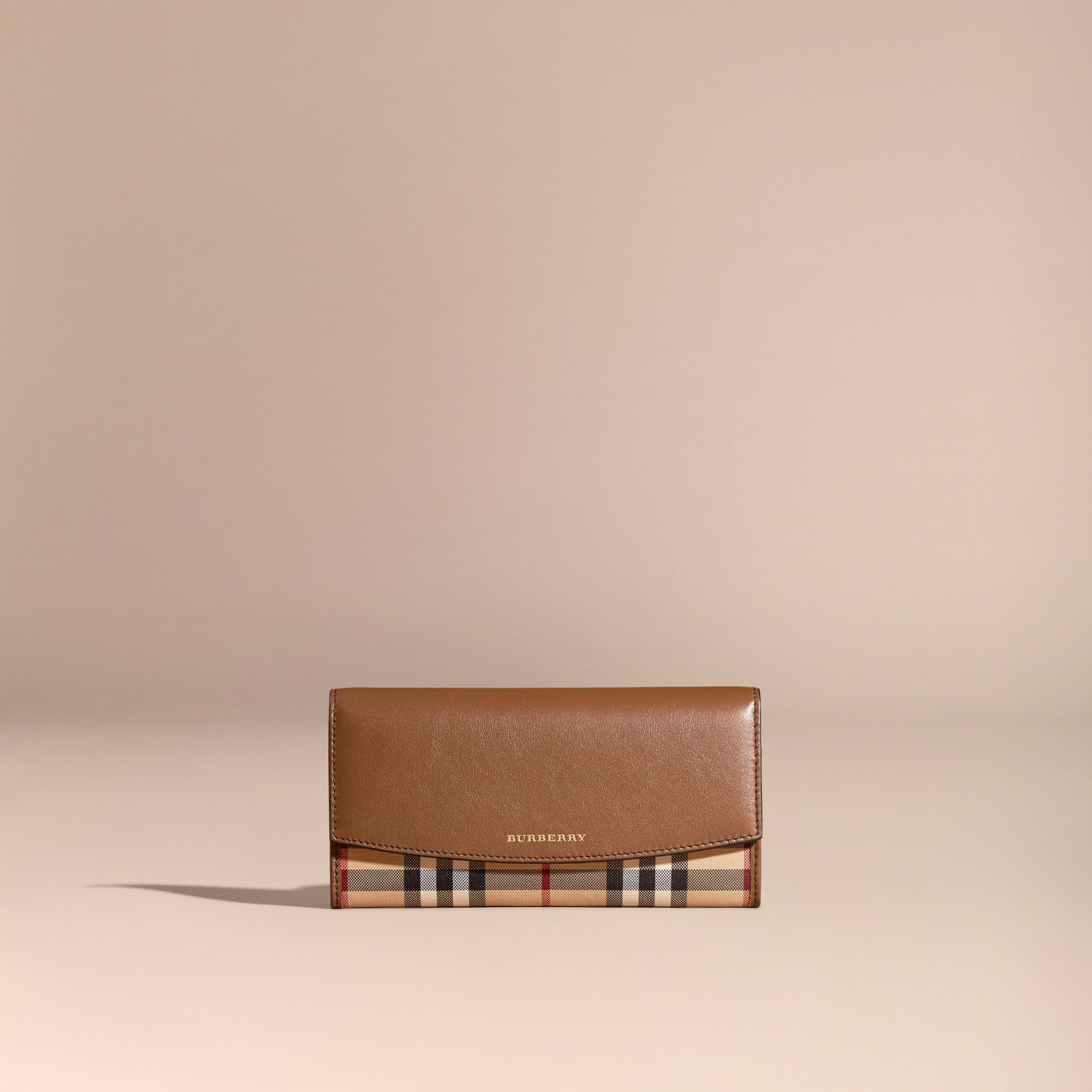Tan Horseferry Check and Leather Continental Wallet Tan - gallery image 6