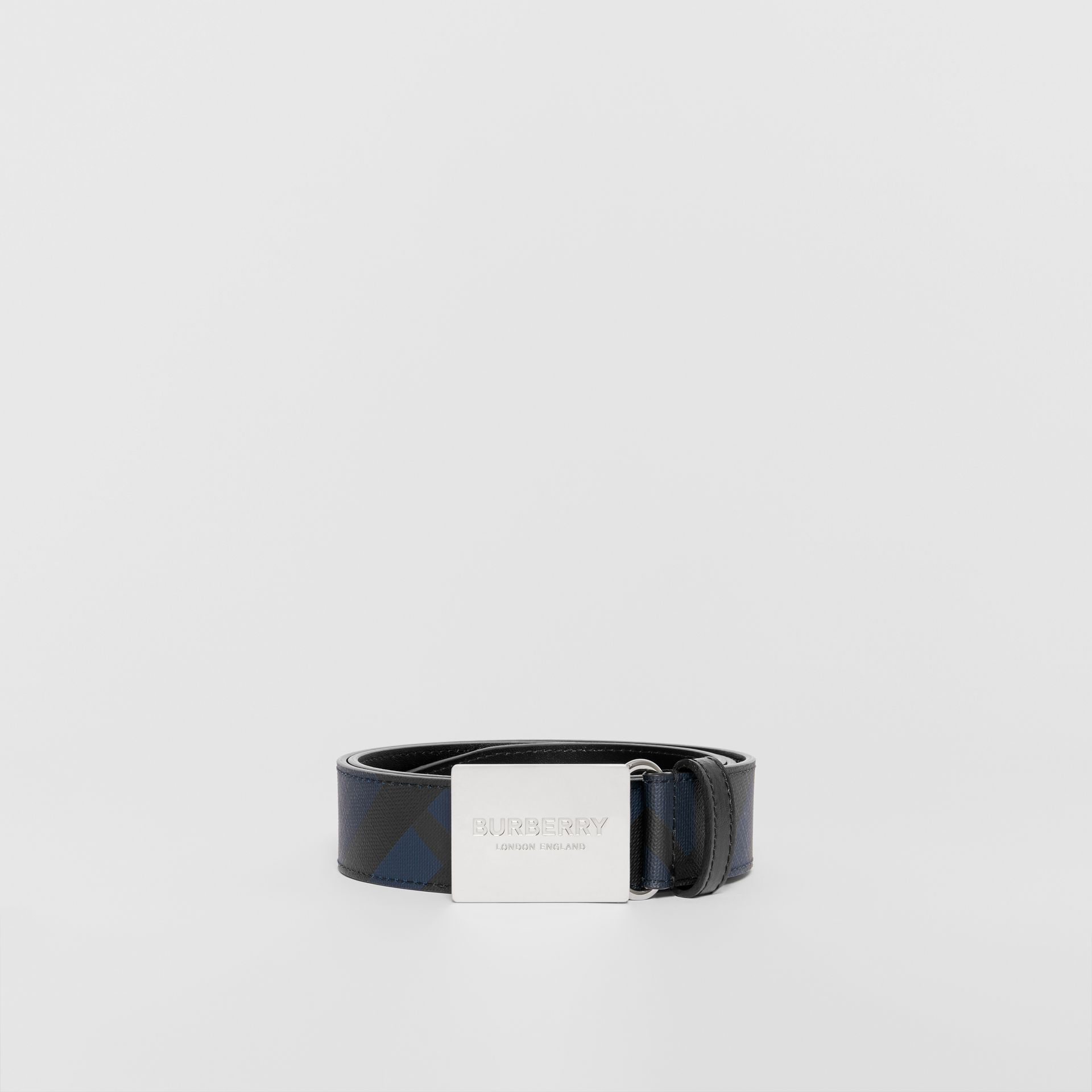 Plaque Buckle London Check and Leather Belt in Navy/black - Men | Burberry Hong Kong - gallery image 3