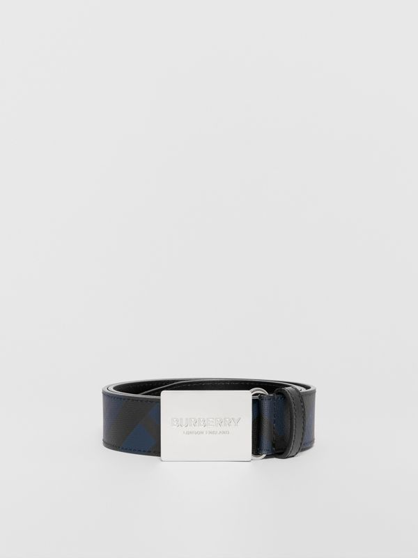 Plaque Buckle London Check and Leather Belt in Navy/black - Men | Burberry Canada - cell image 3