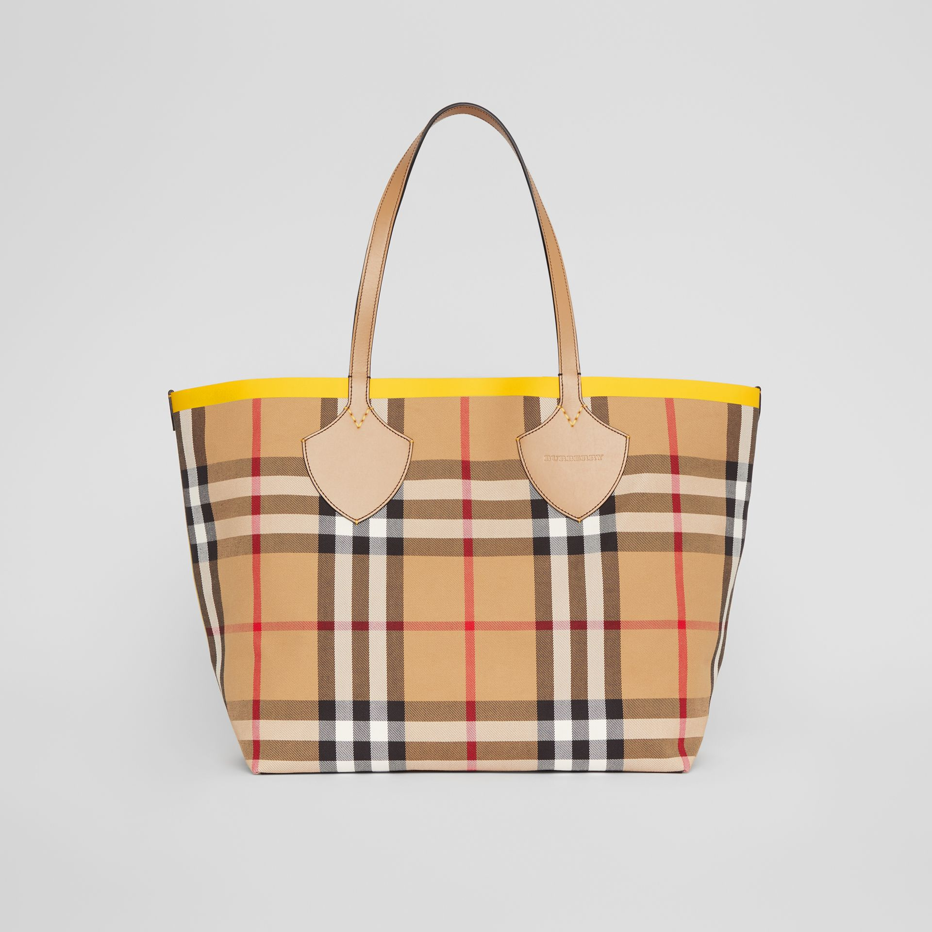 The Large Giant Tote in Colour Block Check in Antique Yellow/golden Yellow | Burberry - gallery image 0