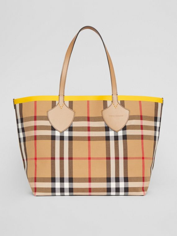 Grand sac tote The Giant à motif check color-block (Jaune Antique/jaune Doré)