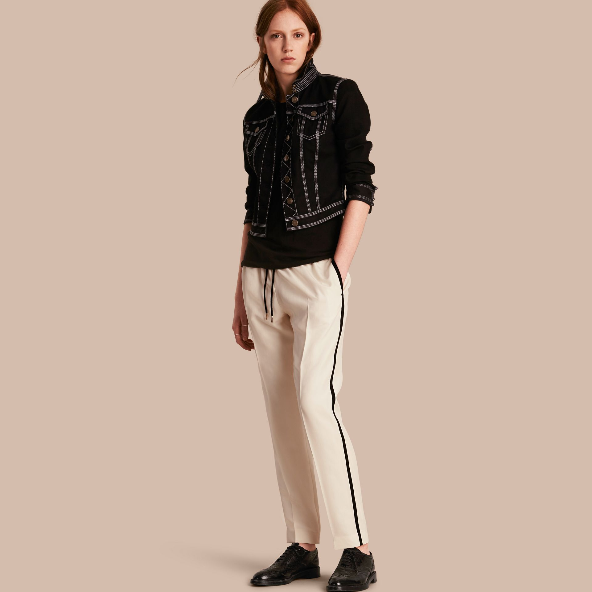 Parchment Tailored Silk Track Pants - gallery image 1