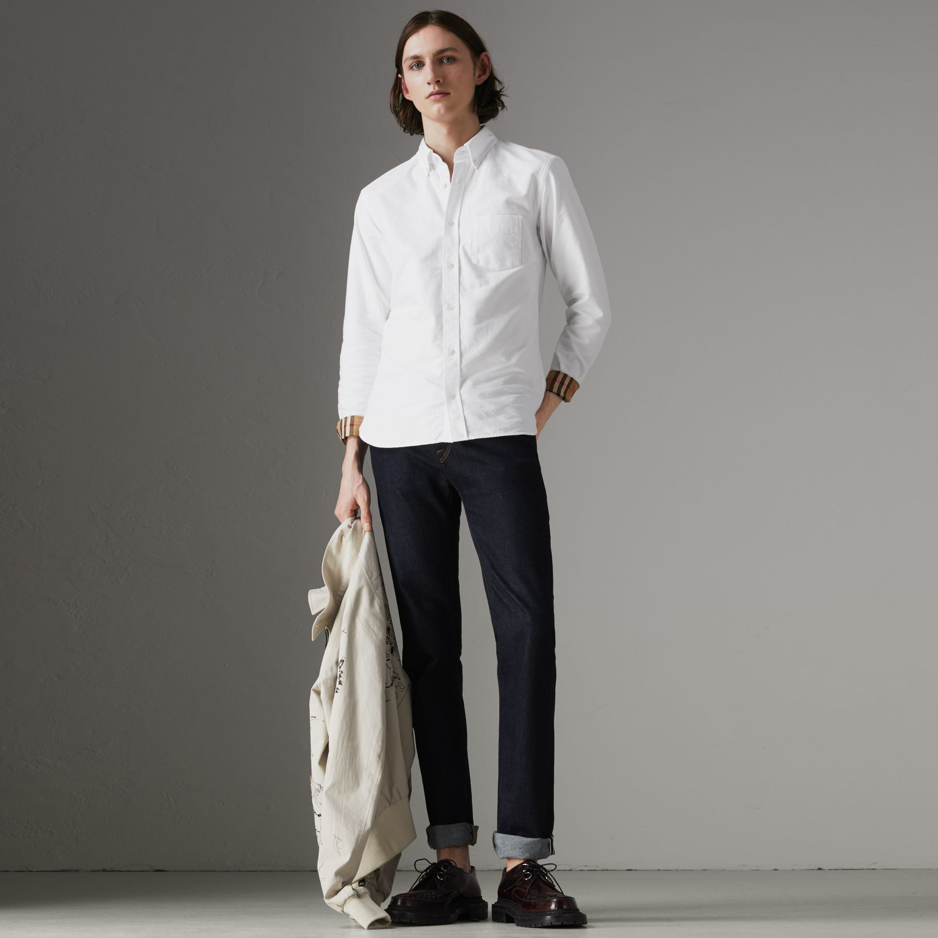 Check Cuff Cotton Oxford Shirt in White - Men | Burberry - gallery image 0