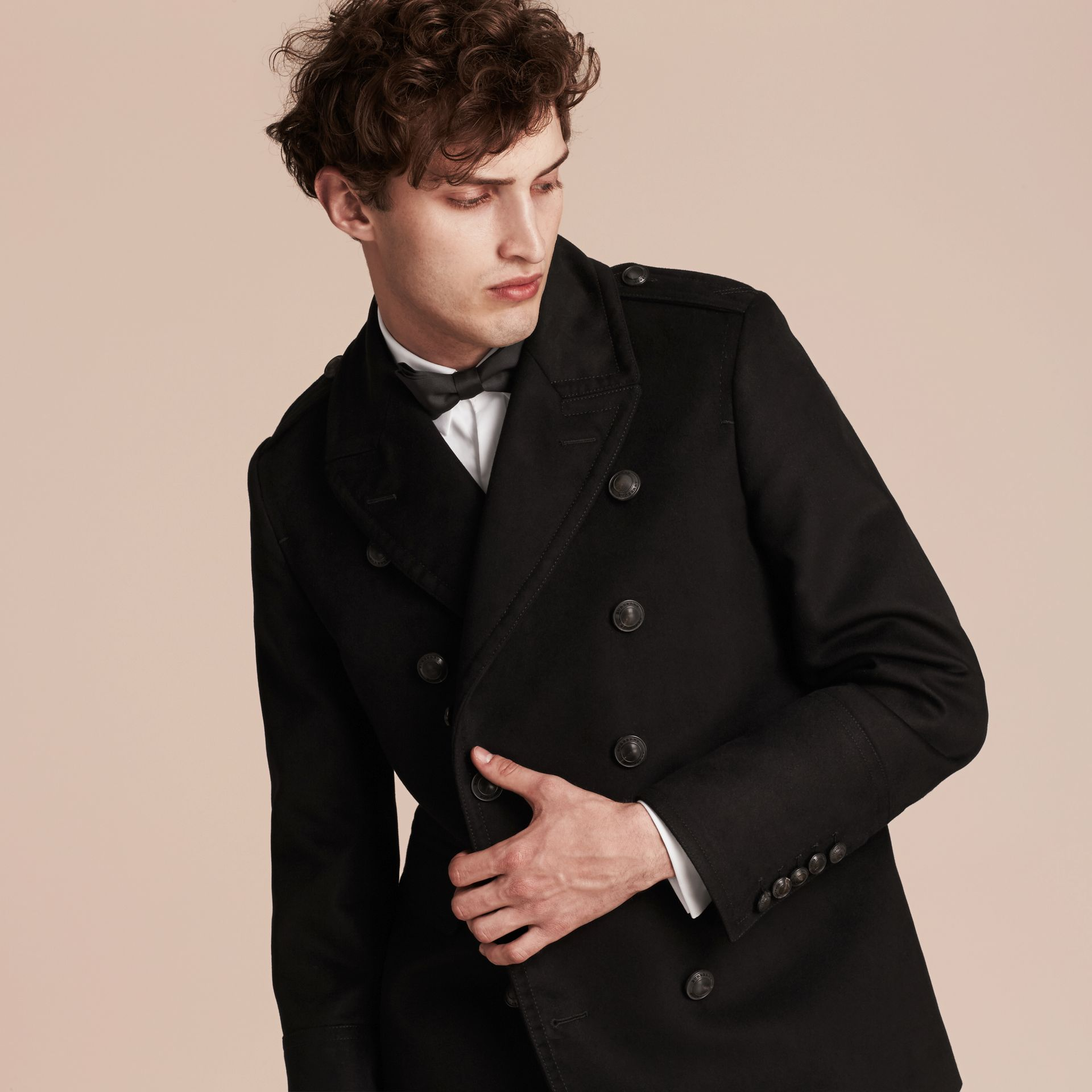 Black Technical-cotton Moleskin Pea Coat with Shearling Collar - gallery image 4