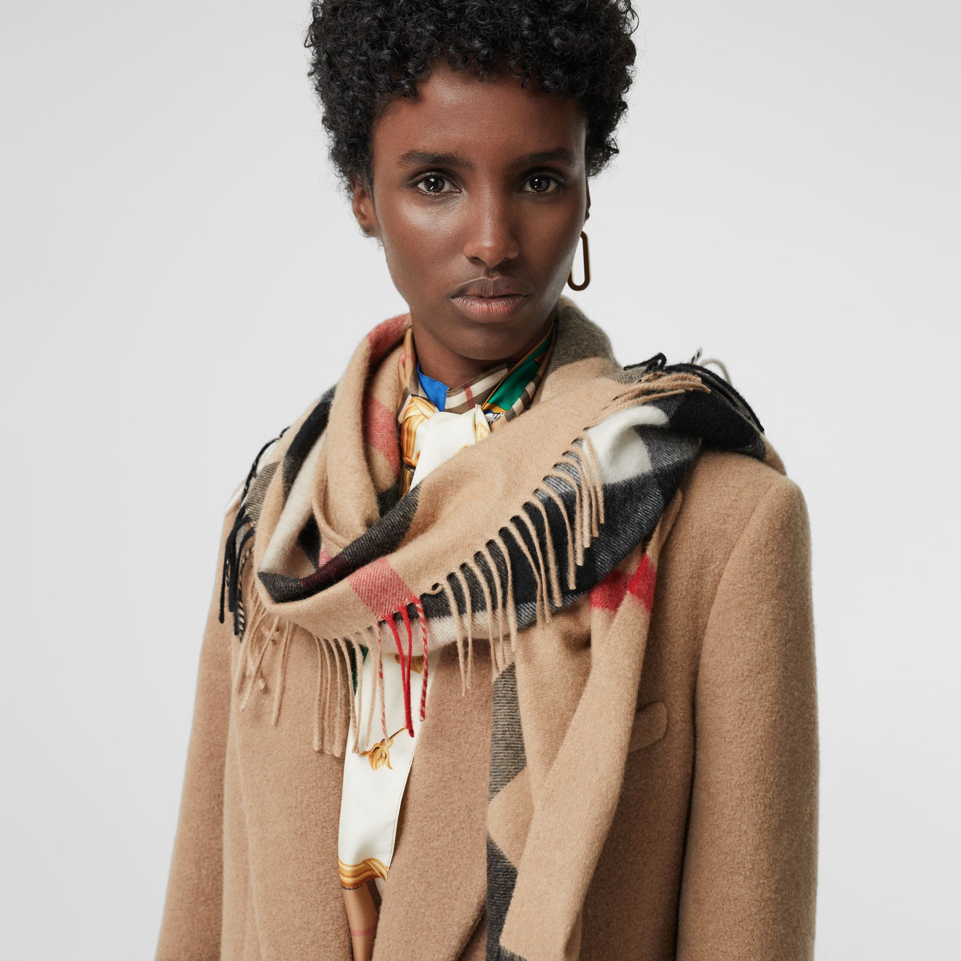 The Burberry Bandana in Check Cashmere in Camel | Burberry United States - gallery image 3