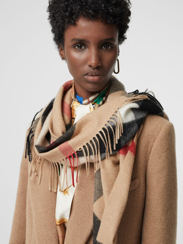 The Burberry Bandana in Check Cashmere in Camel | Burberry Australia - cell image 3