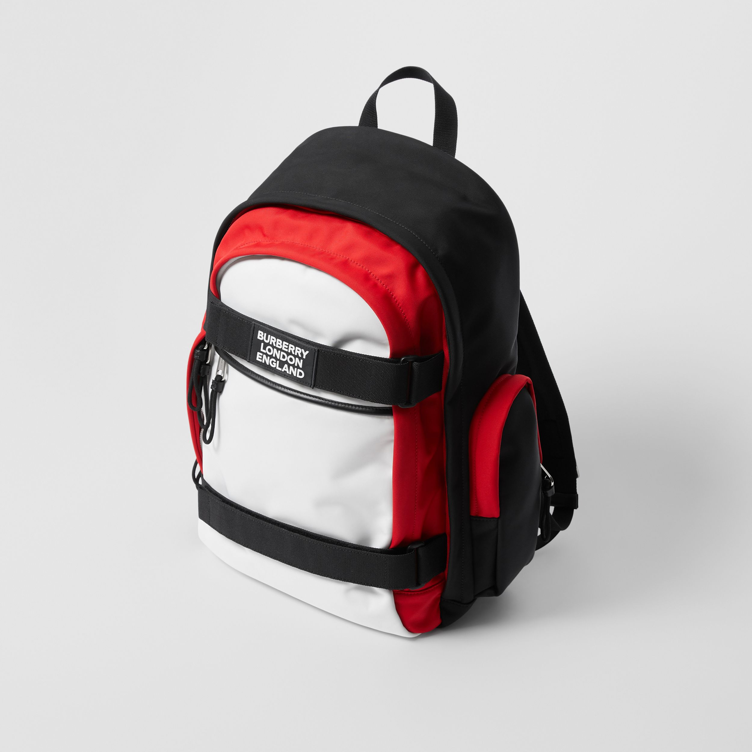 Large Colour Block Nevis Backpack in White/red/black | Burberry - 4