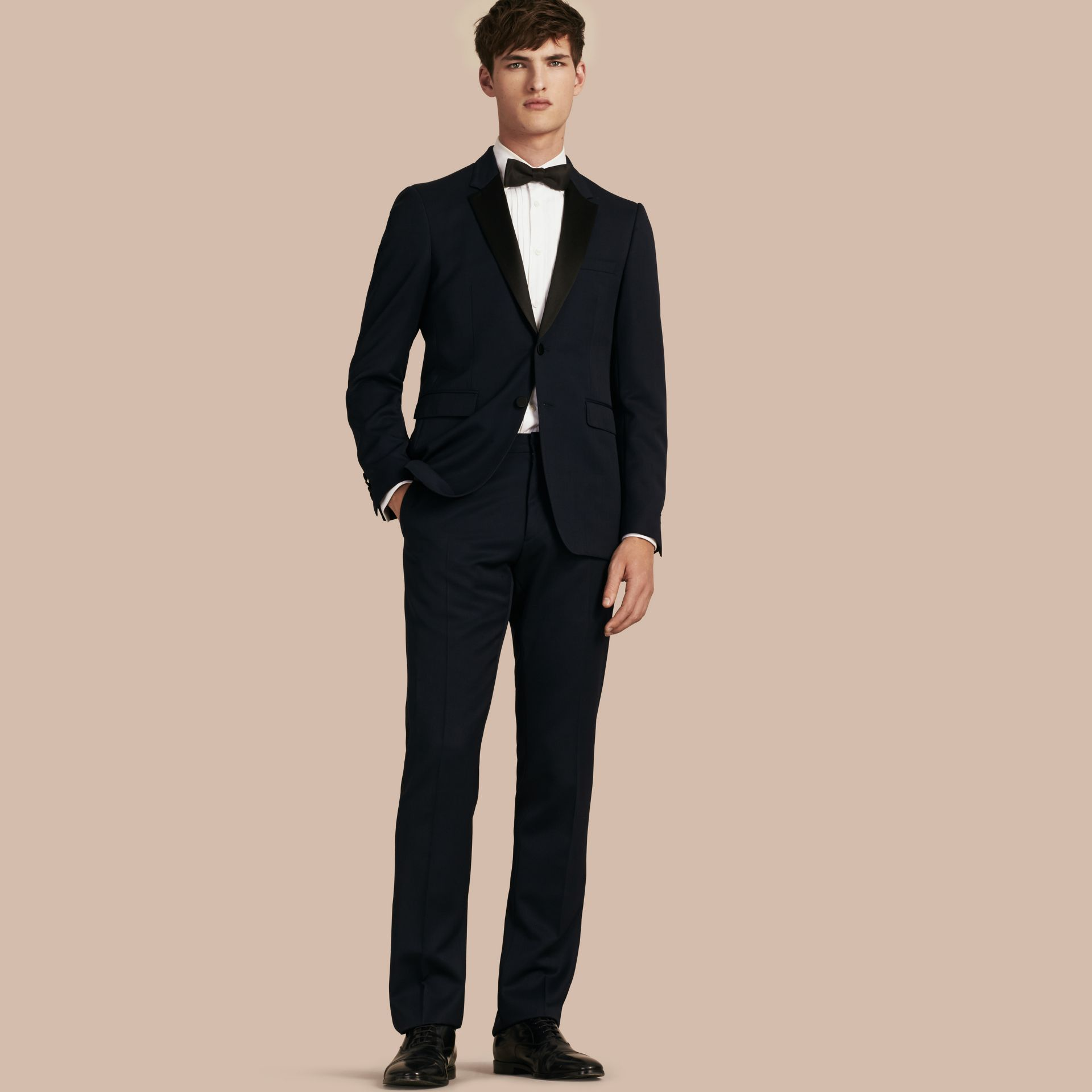 Navy Modern Fit Virgin Wool Half-canvas Tuxedo - gallery image 1