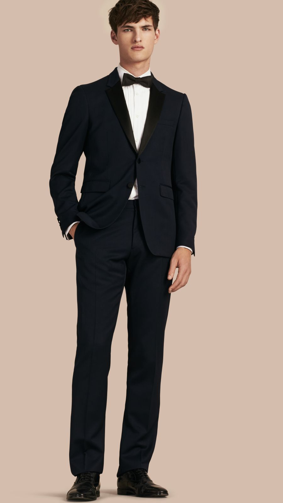 Navy Modern Fit Virgin Wool Half-canvas Tuxedo - Image 1